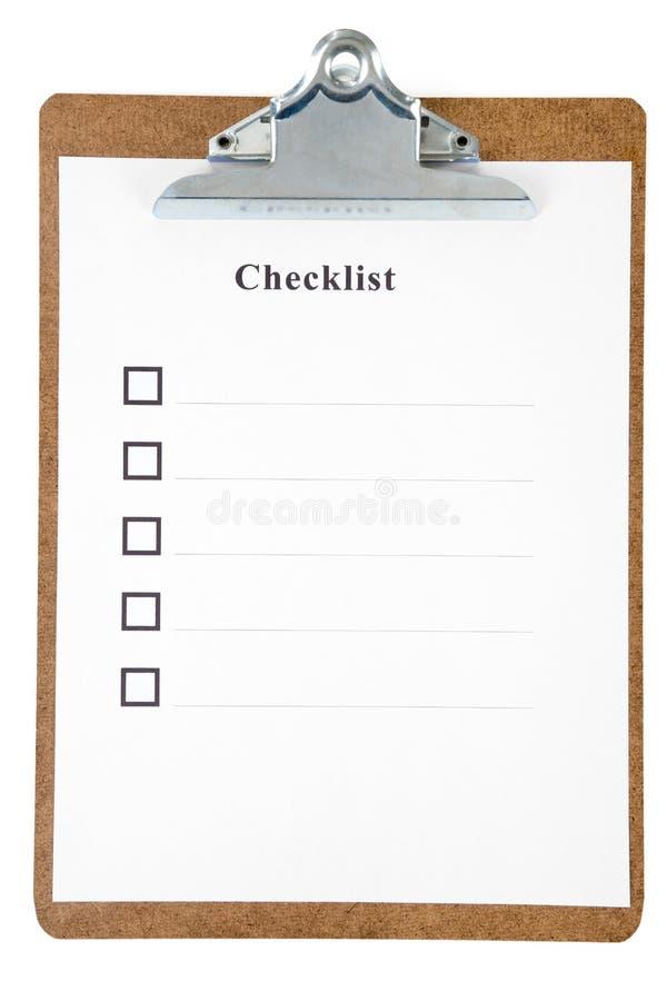 Checkliste stockfoto