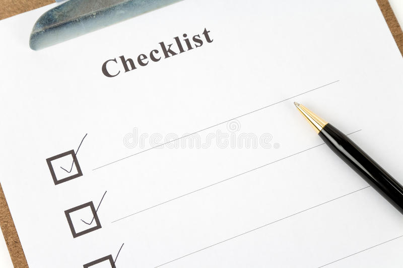 Checkliste lizenzfreie stockfotos