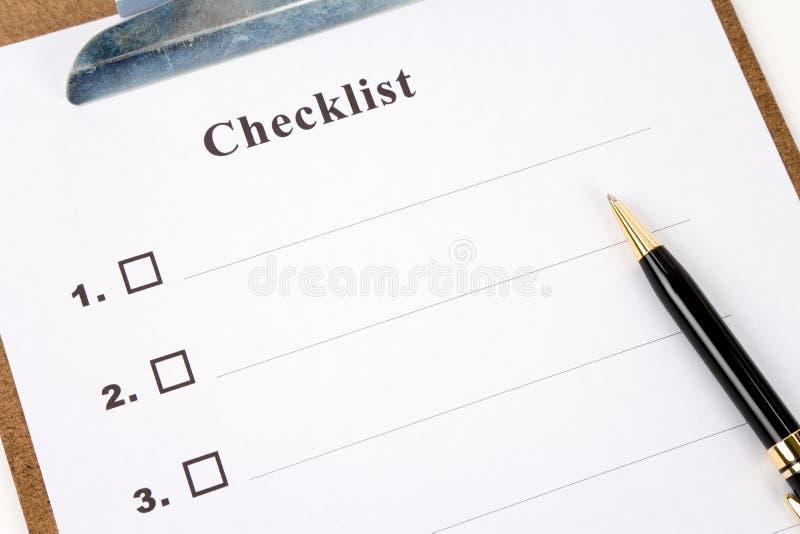 Checkliste lizenzfreie stockfotos