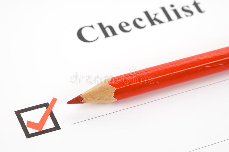 Checkliste stockfoto