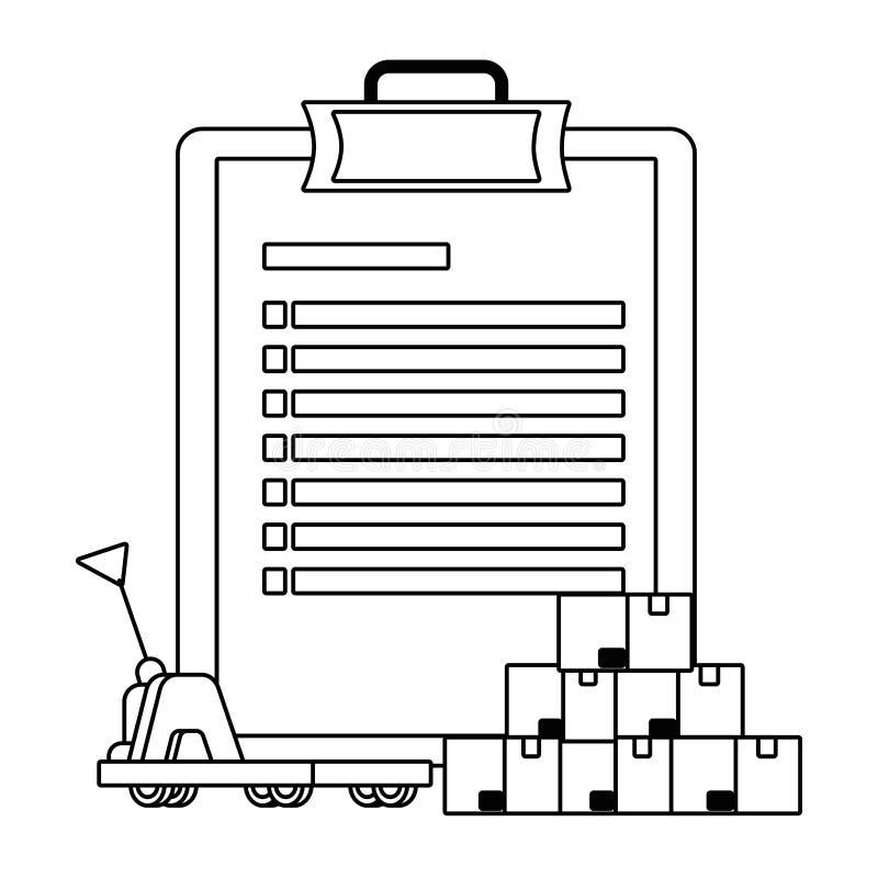 Checkliste ?ber Handwagen in Schwarzweiss vektor abbildung