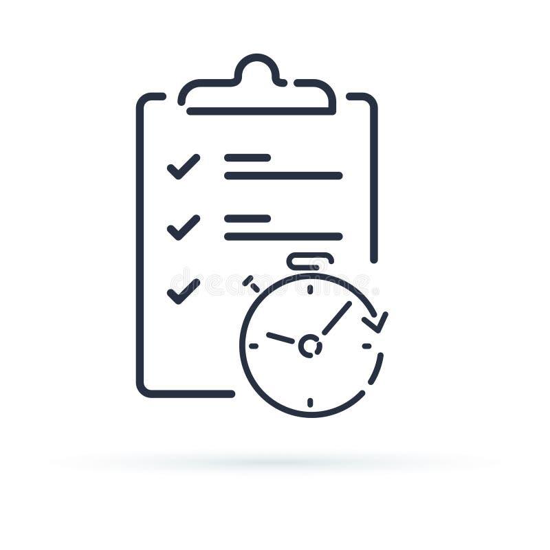 Checkliste der einfachen Lösung des schnellen Services, des Projektleiters und der Verbesserung überblicken Klemmbrett Einschreib vektor abbildung