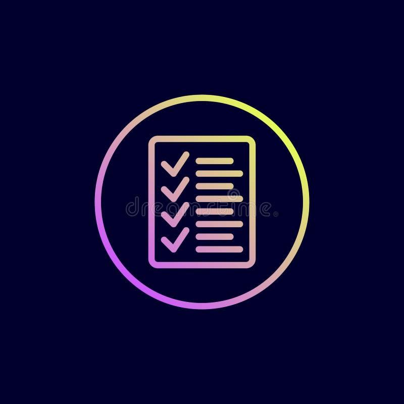 Checkliste Ikone Vektorillustration in der flachen Linie Art stock abbildung