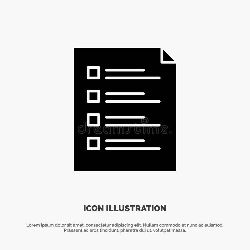 Checkliste, Kontrolle, Datei, Liste, Seite, Aufgabe, prüfender fester Glyph-Ikonenvektor lizenzfreie abbildung