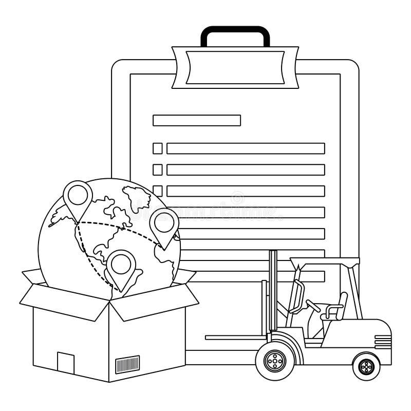Checkliste mit Gabelstapler in Schwarzweiss lizenzfreie abbildung