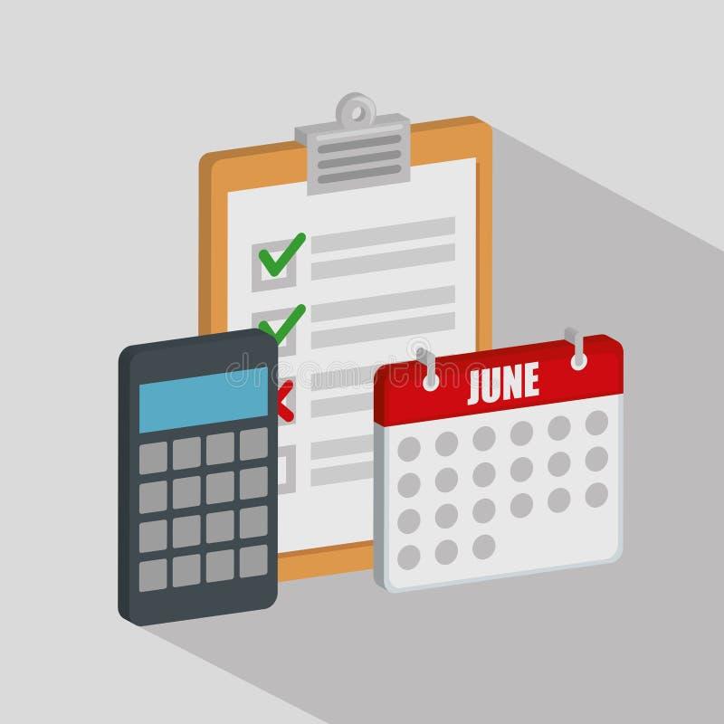 Checkliste mit Kalender und Taschenrechner lizenzfreie abbildung