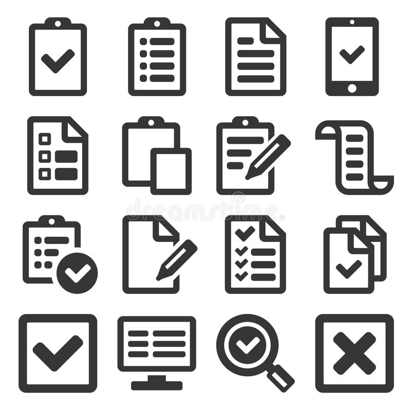 Checklisten-Übersichts-Ikone eingestellt auf weißen Hintergrund Vektor stock abbildung