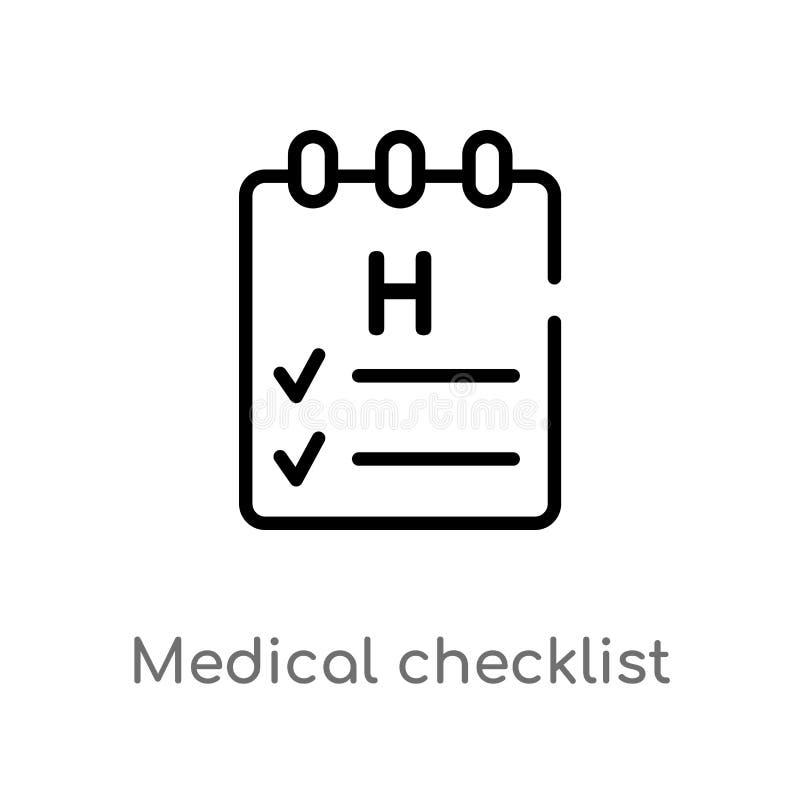 Checklisten-Vektorikone des Entwurfs medizinische lokalisiertes schwarzes einfaches Linienelementillustration von der Gesundheit  lizenzfreie abbildung