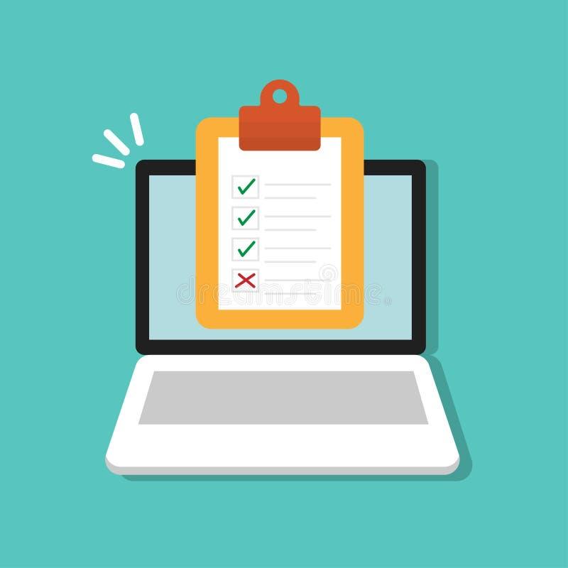 Checklistenform auf Klemmbrett auf Laptopikone Flache Art der Marktstudie-Konzeptvektor-Illustration lizenzfreie abbildung