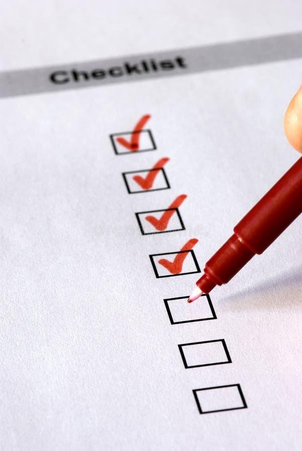 Checklistenformular lizenzfreie stockfotos
