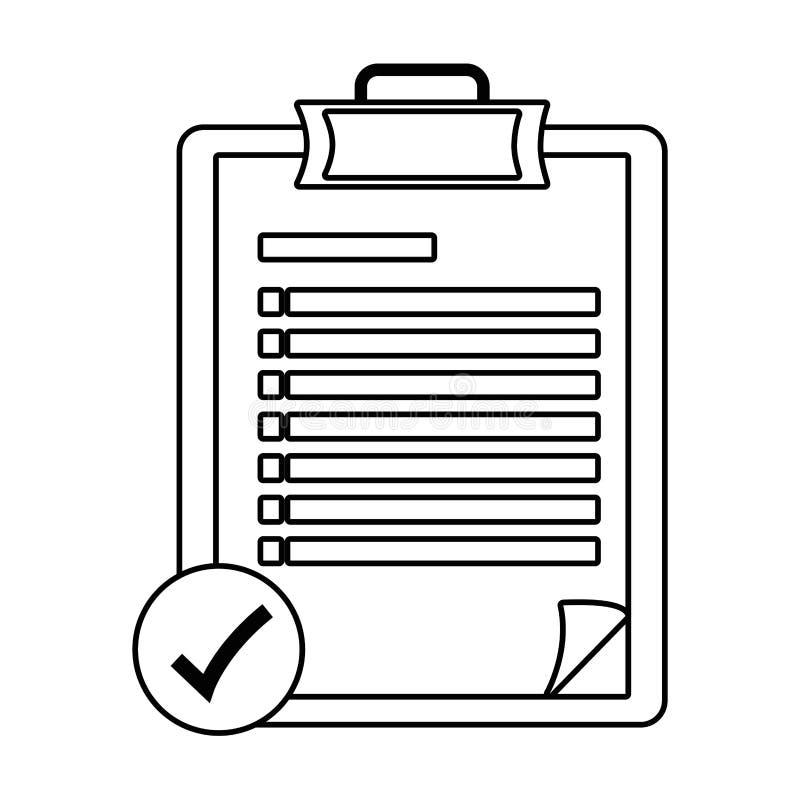 Checklistenikonenkarikatur in Schwarzweiss lizenzfreie abbildung
