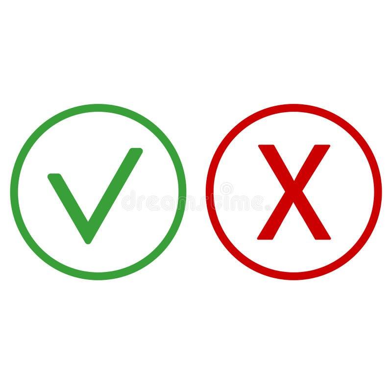 Checkmark και το Χ ή επιβεβαιώνουν και αρνούνται το εικονίδιο για Apps και τους ιστοχώρους απεικόνιση αποθεμάτων