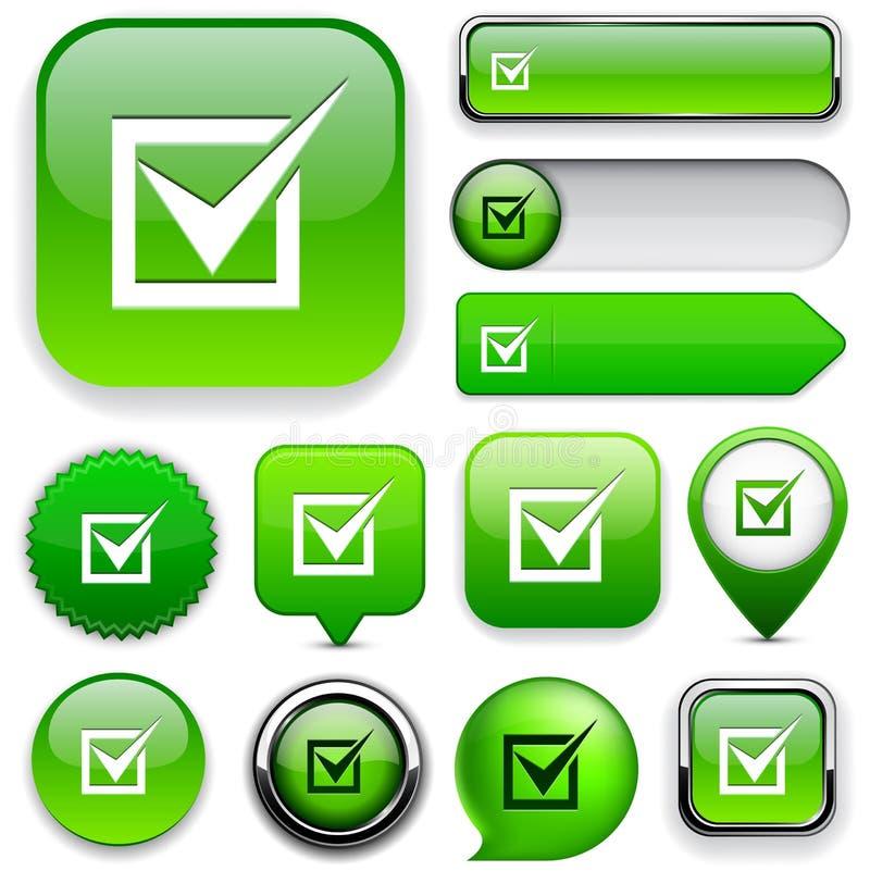checkmark κουμπιών η συλλογή απαρίθμησε τον υψηλό Ιστό ελεύθερη απεικόνιση δικαιώματος