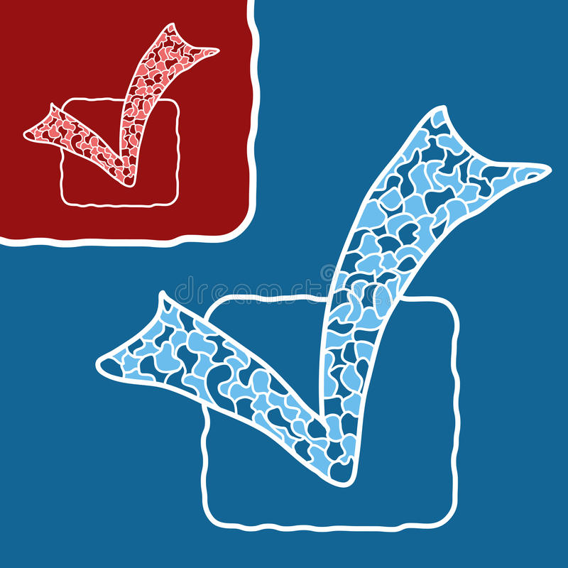 Checkmark μωσαϊκών doodle απεικόνιση αποθεμάτων