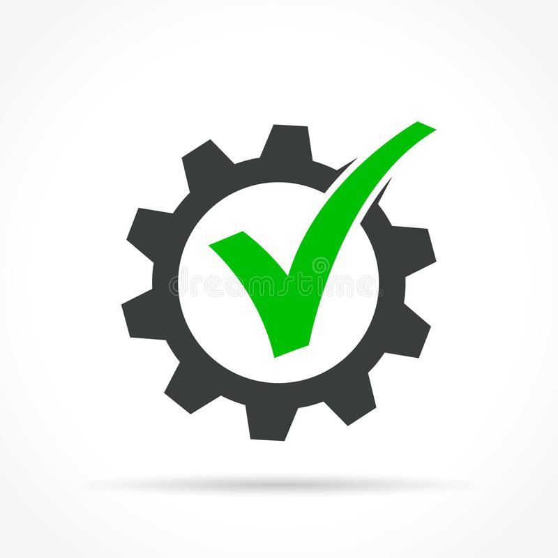 Checkmark in gear icon stock illustration