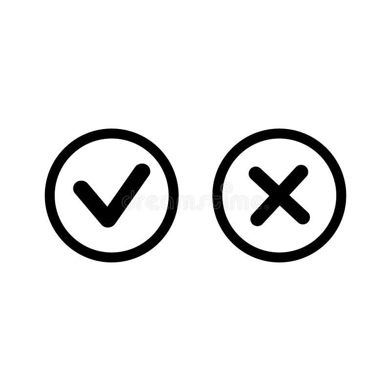 Checkmark-kontroll X eller att godkänna Deny Line Art Color Icon för Apps och Websites stock illustrationer
