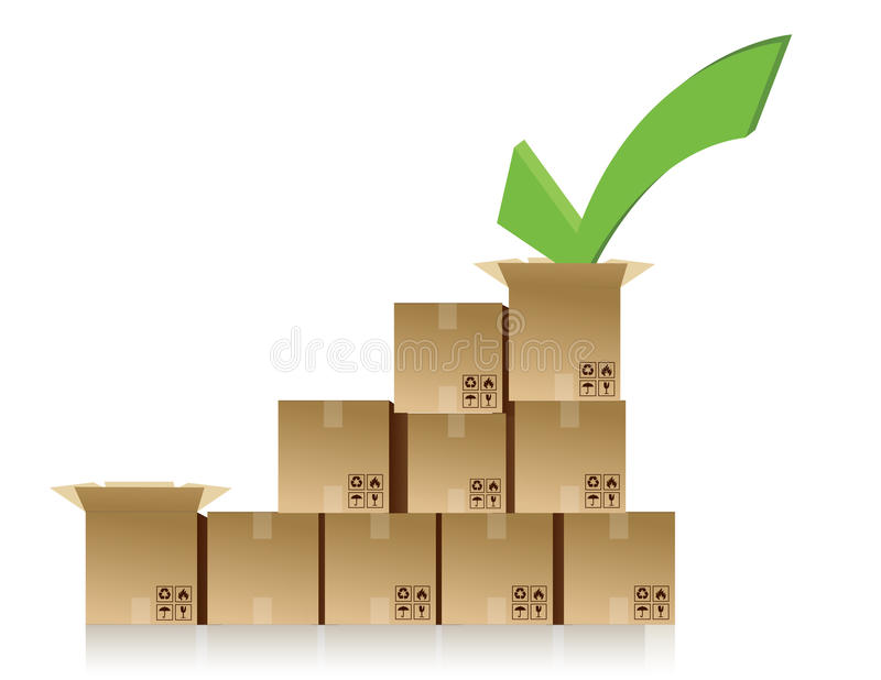 Checkmark Over A Box Graph Illustration Royalty Free Stock Images