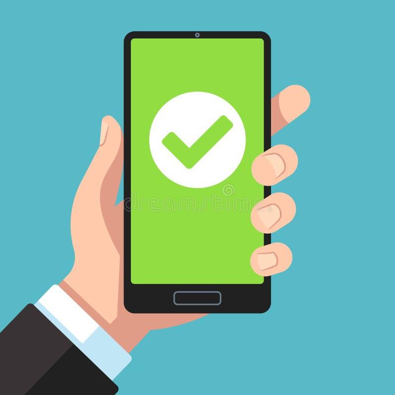 Checkmark on smartphone screen. Hand holding smartphone with green tick. Phone surveys technology, website app testing vector illustration