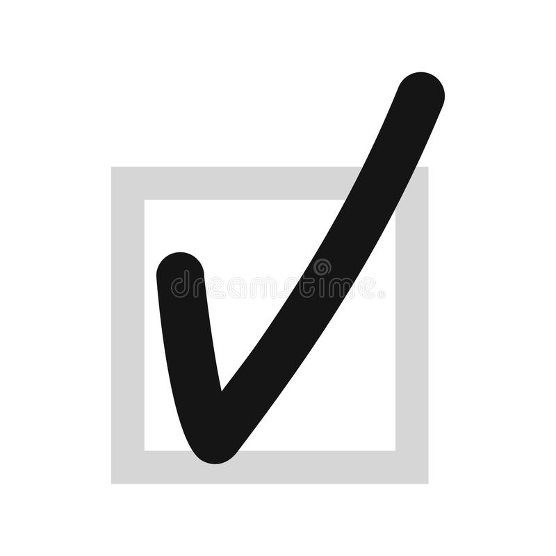 Checkmark in square icon, flat style. Checkmark in square icon in flat style isolated on white background. Click and choice symbol vector illustration vector illustration