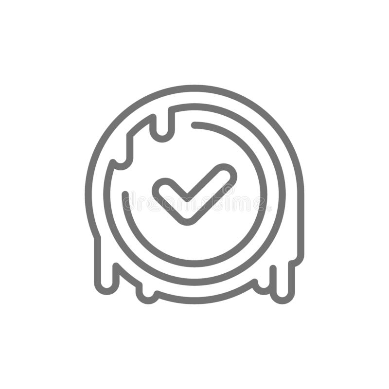 Checkmark stamp, verified wax seal, quality control approved line icon. vector illustration