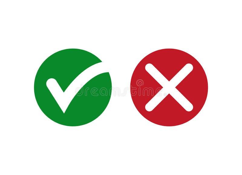 Checkmark, X, Tak i Żadny lub Potwierdza ikonę i Zaprzecza royalty ilustracja