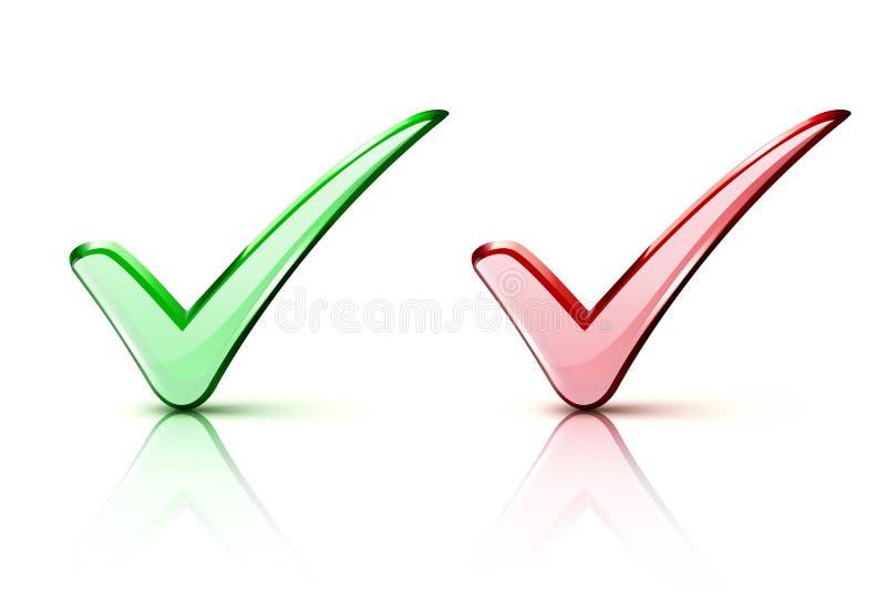 Checkmarkierung Ikonen lizenzfreie abbildung