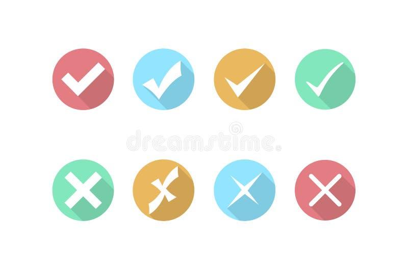 Checkmarkierungs- und -kreuzikonen Ikone in der flachen Art r Vektor stock abbildung