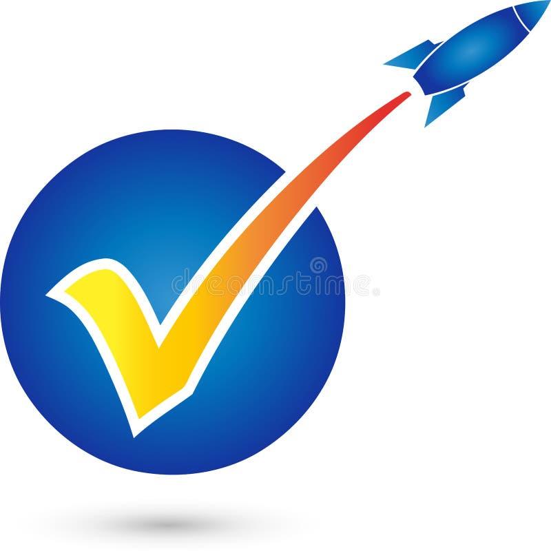 Checkmarks and rocket, check mark and startup logo vector illustration