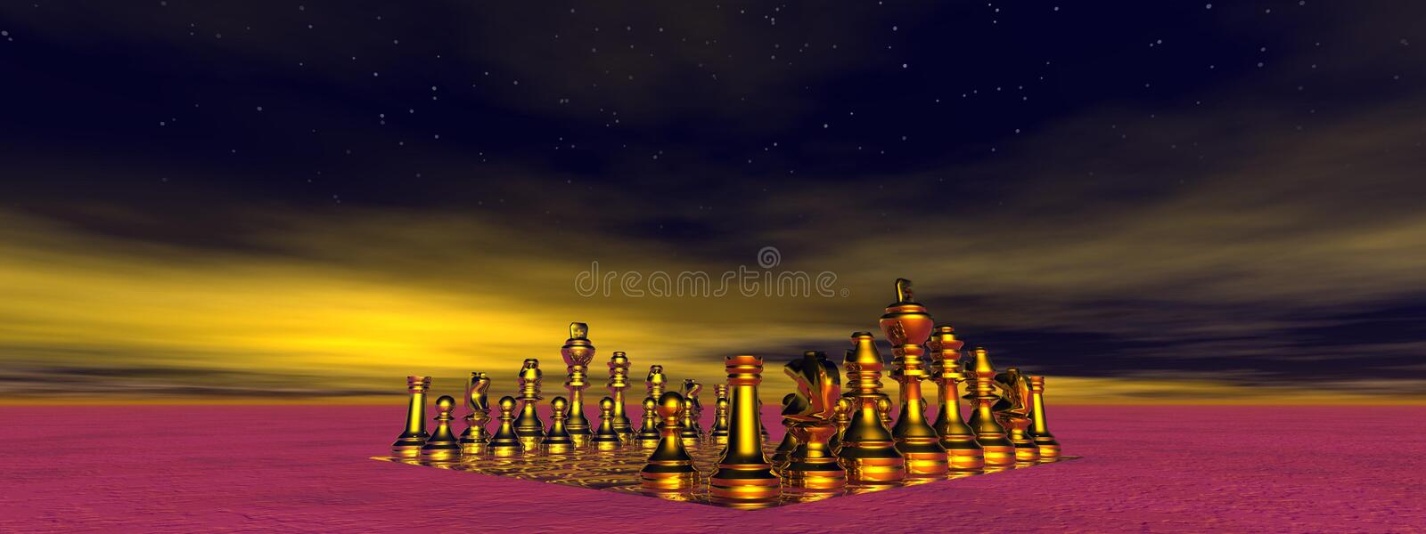 Checkmate. And sky yellow and black vector illustration