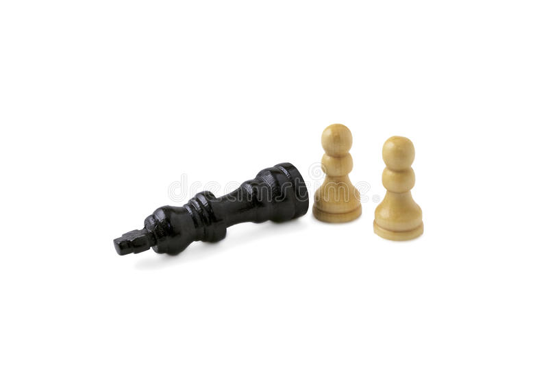 Checkmate for black king. Two white pawns and checkmate for black king stock photography