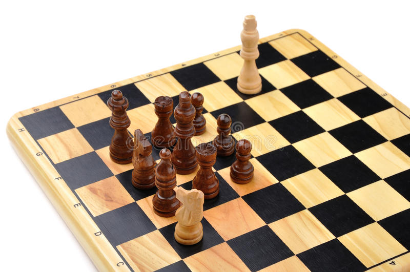 Checkmate made by one horse. Checkmate made by one chess horse with total advantage of opponent royalty free stock photo