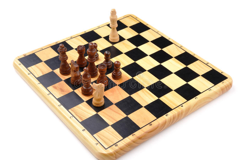 Checkmate made by one horse. Checkmate made by one chess horse with total advantage of opponent royalty free stock image