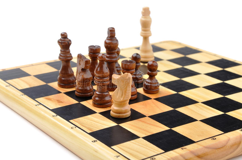 Checkmate made by one horse. Checkmate made by one chess horse with total advantage of opponent stock image