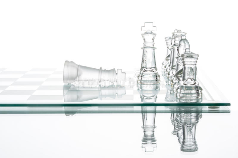 Checkmate Strategy on chess board, business War Winning. Topple Conquering Adversity stock photo