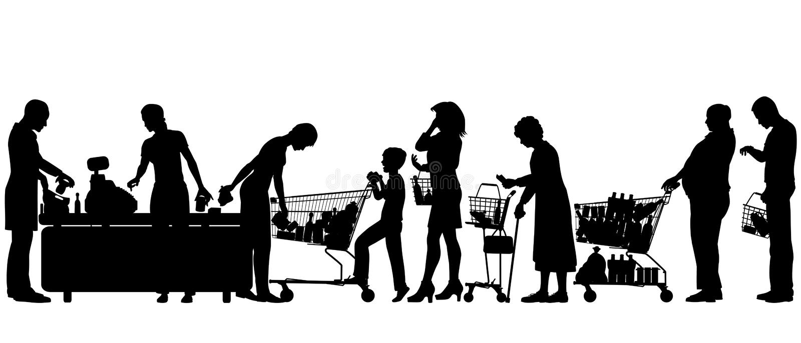 Checkout till. Editable vector silhouettes of people in a supermarket checkout queue with all elements as separate objects vector illustration