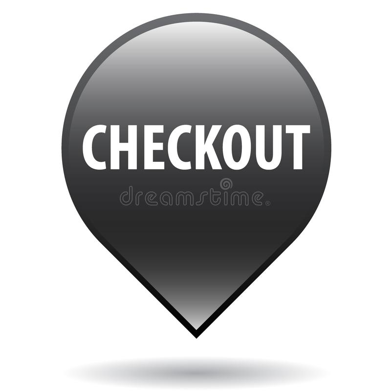 Checkout web button. Icon of vector illustration on isolated white background with shadow stock illustration