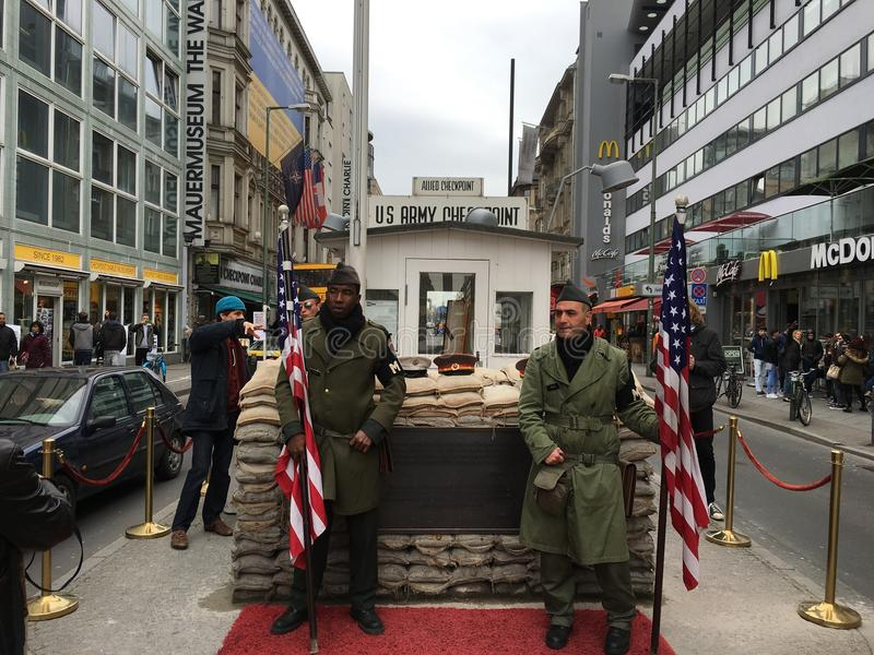 Checkpoint Charlie in Berlin, royalty free stock photography