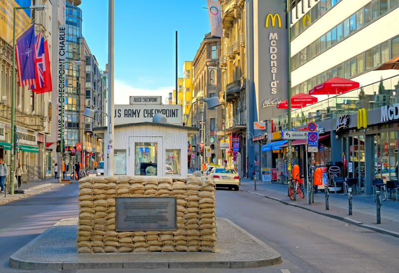 Checkpoint Charlie Memorial site in Berlin, Germany royalty free stock photos