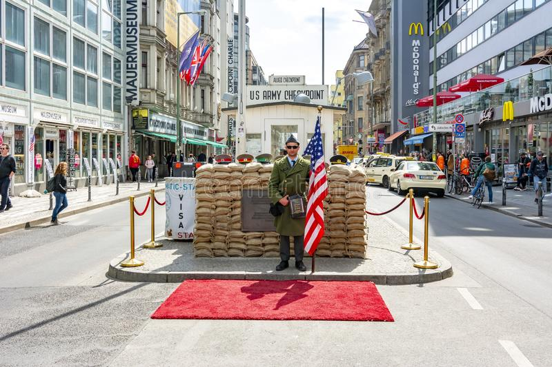 Checkpoint Charlie monument in Berlin, Germany stock photography