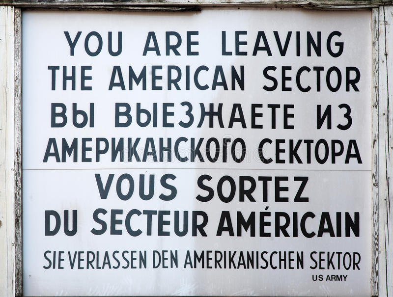 Checkpoint Charlie sign stock photos