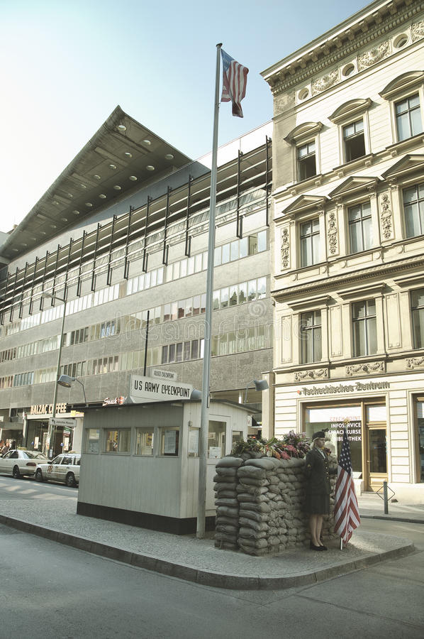 Checkpoint Charlie - symbol of the Cold War, representing the separation of East and West stock images