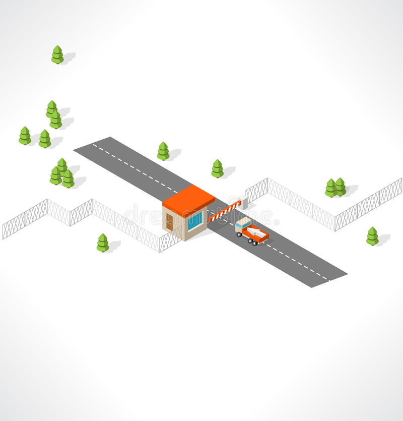 Checkpoint on the road. Isometric building. royalty free illustration