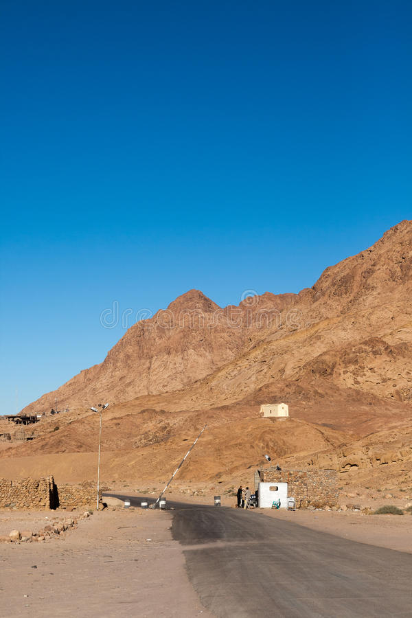 Checkpoint on the road. Landscape in the Egypt royalty free stock photos