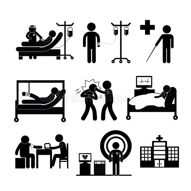 Checkup medical in hospital. Vector symbol cartoon royalty free illustration