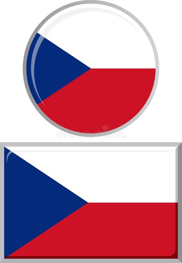 Checo alrededor y bandera cuadrada del icono Vector ilustración del vector