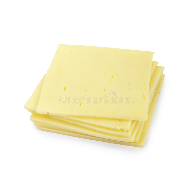 Cheddar cheese slices. stock photos