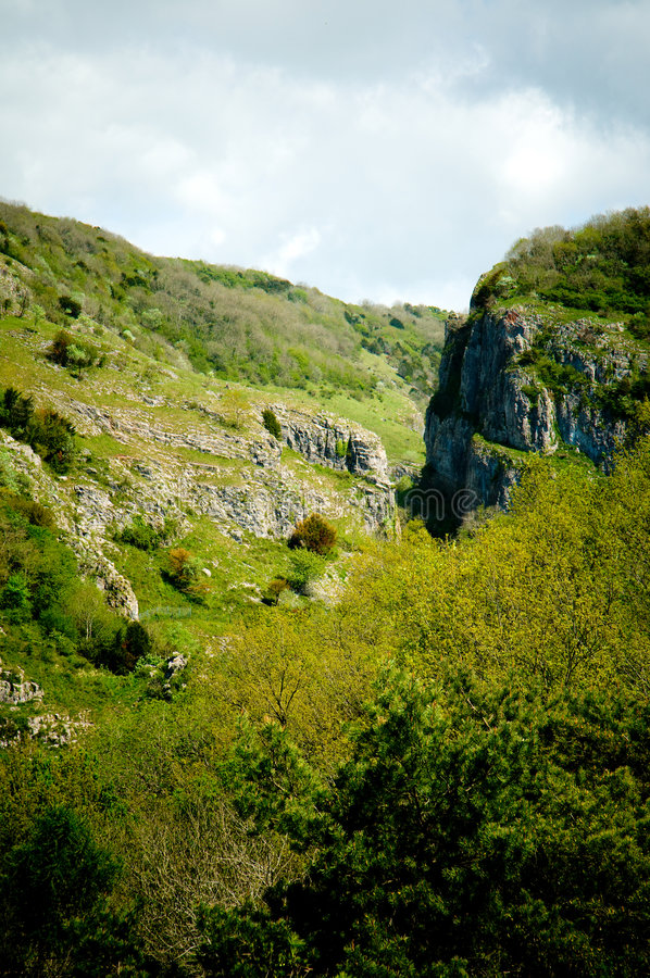 Cheddar Gorge. Scenic view of Cheddar Gorge, Mendip hills, Somerset, England stock images