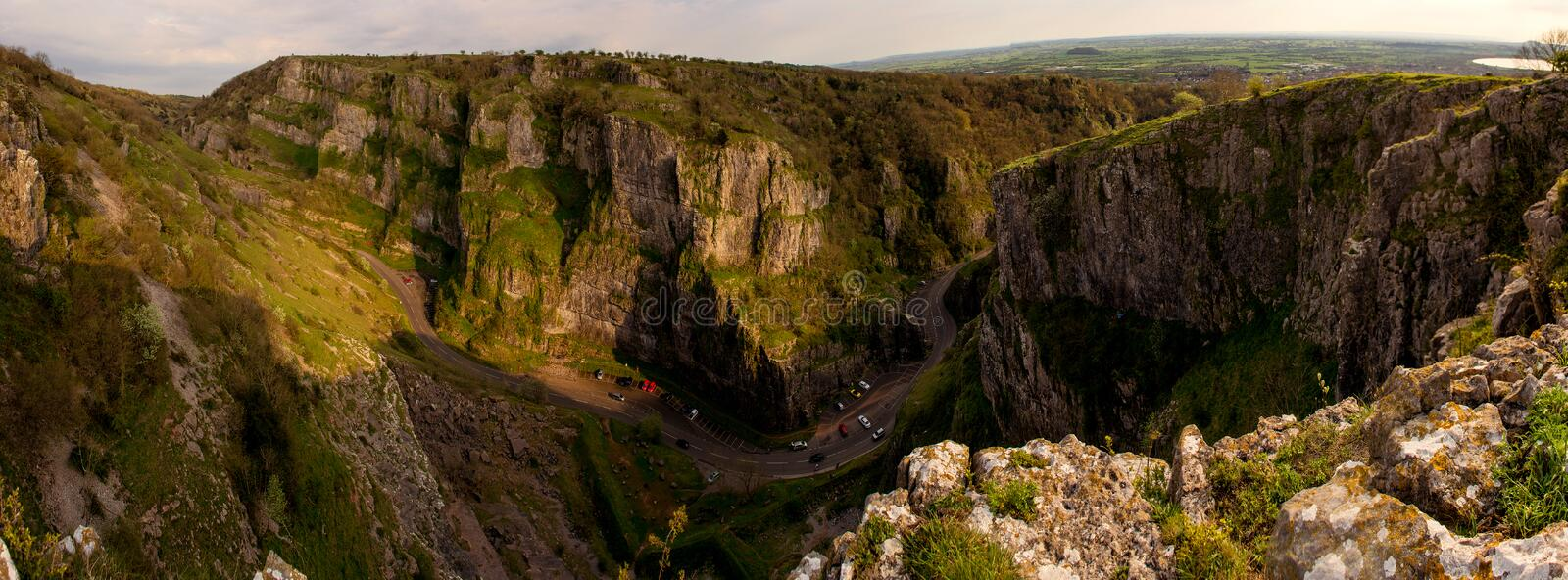 Cheddar Gorge Panorama royalty free stock photo