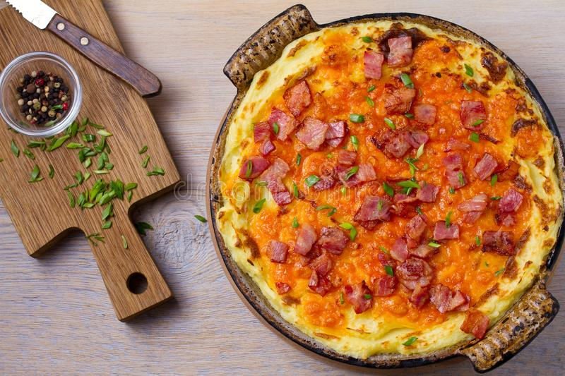 Cheddar Mashed Potato Casserole with Bacon. Baked Cheddar Potato Casserole. royalty free stock photos