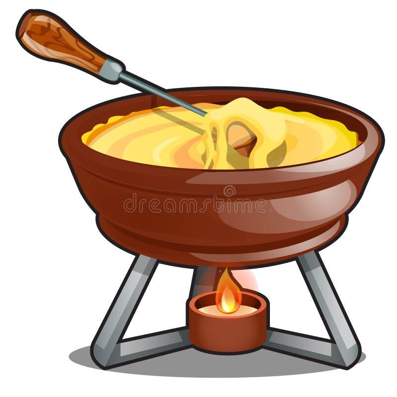 Cheddar och varm ostfondue som isoleras på en vit bakgrund Illustration f?r tecknad filmvektorn?rbild stock illustrationer